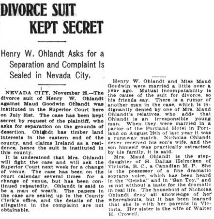 San Francisco Chronicle, November 26, 1905, page 27, column 5.