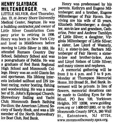 Asbury Park Press (Asbury Park, New Jersey), January 20, 2006, page 14, column 5-6.