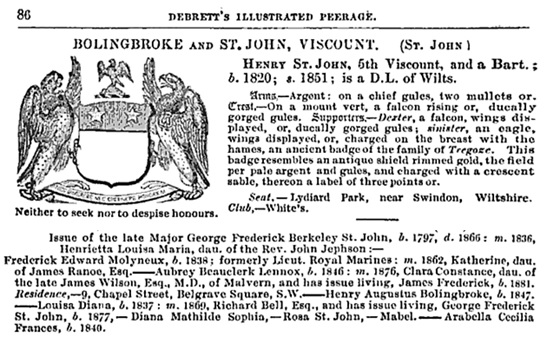Debrett's Peerage, Baronetage, Knightage, and Companionage; London, Dean and Son, 1884, page 86 [selected extracts]; https://books.google.ca/books?id=Vlo-AQAAIAAJ&pg=PA86#v=onepage&q&f=false.