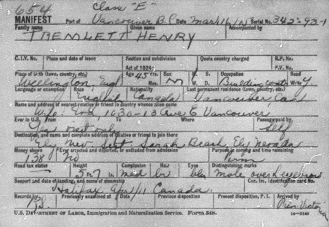 """""""Vermont, St. Albans Canadian Border Crossings, 1895-1954,"""" database with images, FamilySearch (https://familysearch.org/ark:/61903/1:1:QKQ9-N43J : 16 March 2018), Henry Tremlett, 1895-1924; citing M1461, Soundex Index to Canadian Border Entries through the St. Albans, Vermont, District, 1895-1924, 374, NARA microfilm publications M1461, M1463, M1464, and M1465 (Washington D.C.: National Archives and Records Administration, publication year); FHL microfilm 1,473,174."""
