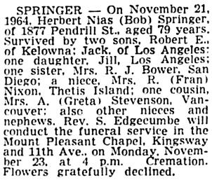 Vancouver Sun, November 23, 1964, column 4.