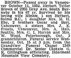 Vancouver Sun, October 14, 1952, page 25, column 3.