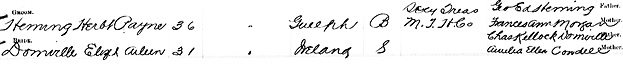 """""""Ontario Marriages, 1869-1927,"""" database with images, FamilySearch (https://familysearch.org/ark:/61903/1:1:KZBD-DM8 : 11 March 2018), Herbt Payne Heming and Elizth Aileen Domville, 16 Jun 1900; citing registration , Hamilton, Wentworth, Ontario, Canada, Archives of Ontario, Toronto; FHL microfilm 1,871,079."""