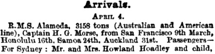 The Sydney Mail and New South Wales Advertiser (New South Wales, Australia), April 14, 1894, page 733, column 4 [selected extracts].