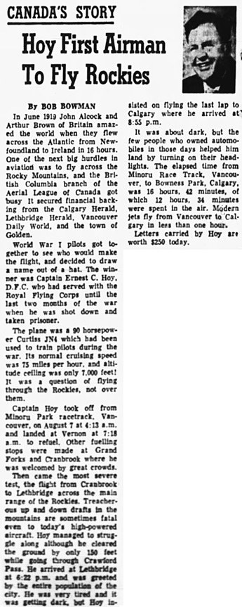 Nanaimo Daily News, August 7, 1967, page 4, columns 6-7.