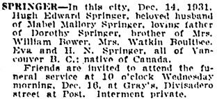 The San Francisco Examiner, December 15, 1931, page 15, column 7.