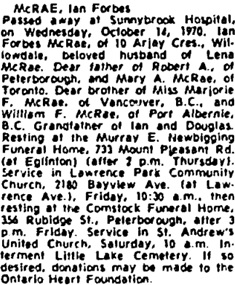 Toronto Globe and Mail, October 15, 1970, page 53, column 3.