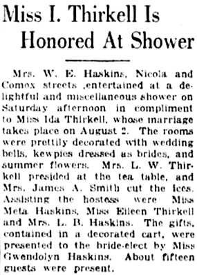 Vancouver Daily World, July 24, 1923, page 7, column 7.