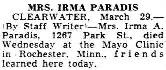 Tampa Tribune, March 30, 1956, page 2A, column 6.