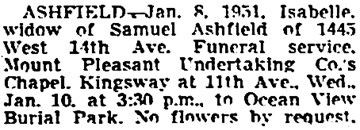 Vancouver Sun, January 9, 1951, page 13, column 3.