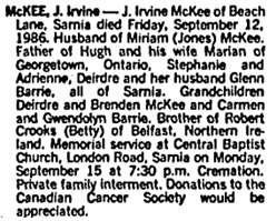 Toronto Globe and Mail, September 15, 1986, page A15, column 5.