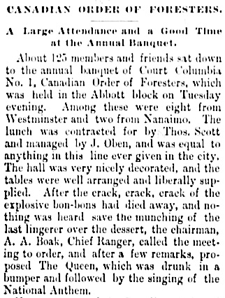 Vancouver Daily World, January 6, 1892, page 2, column 1 (first part of article).