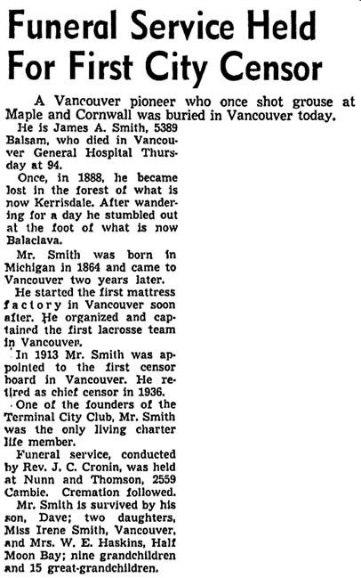 Vancouver Sun, August 22, 1958, page 18, column 1; https://news.google.com/newspapers?id=t2NlAAAAIBAJ&sjid=7YkNAAAAIBAJ&pg=4918%2C4140532; [He did not arrive in Vancouver until the late 1880s. He was an assistant censor before becoming the chief censor in 1931.]