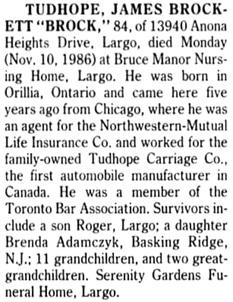 Tampa Bay Times (St. Petersburg, Florida), November 12, 1986, page 57, column 2.