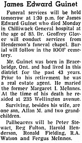 The Chilliwack Progress, February 19, 1958, page 5, column 6.