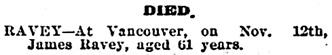 Victoria Times, November 14, 1903, page 8.