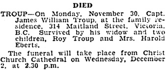 "Victoria Times, December 1, 1931, page 11; ""British Columbia, Victoria Times Birth, Marriage and Death Notices, 1901-1939,"" database with images, FamilySearch (https://familysearch.org/ark:/61903/1:1:QLBL-D293 : 15 March 2018)."