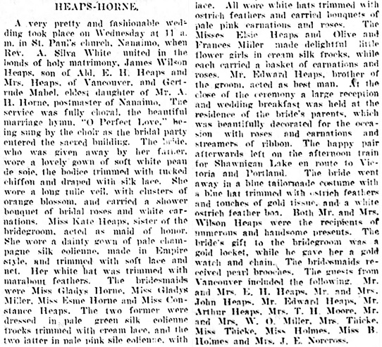 Vancouver Daily World, June 25, 1908, page 13, column 4.