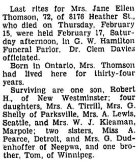 Richmond Review (Richmond, British Columbia), February 28, 1940, page 2, column 2.
