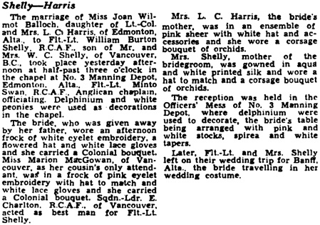 The Gazette (Montreal); July 27, 1943, page 11, columns 2-3.