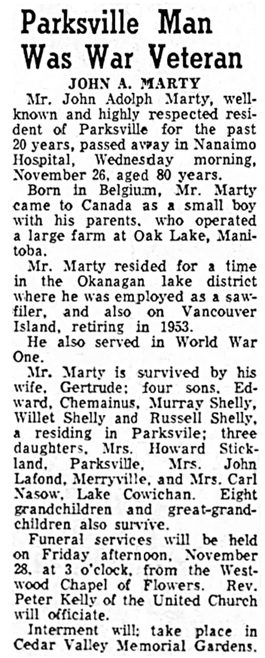 Nanaimo Daily News, November 27, 1958, page 5, column 3.