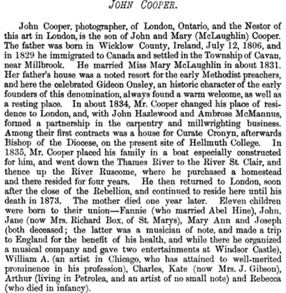 John Cooper, History of the County of Middlesex, Canada: From the Earliest Time to the Present, Toronto and London; W.A. & C.L. Goodspeed, Publishers, 1889, page 1065 [portion of article]; https://books.google.ca/books?id=8qsCAAAAMAAJ&pg=PA1065#v=onepage&q&f=false.