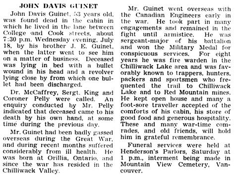 The Chilliwack Progress, July 26, 1934, page 5, column 4.