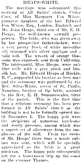 Vancouver Daily World, October 17, 1905, page 7, column 2.