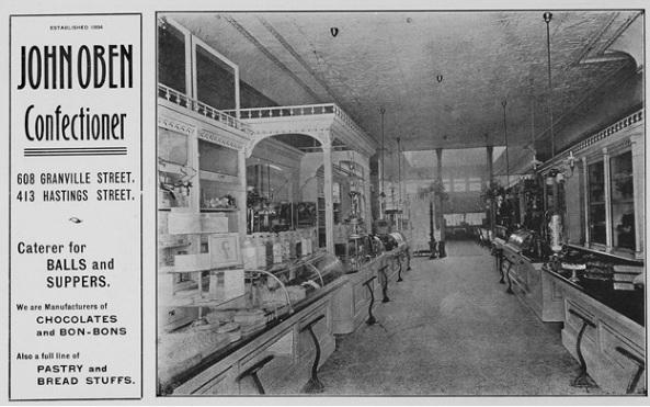 John Oben, advertisement, Souvenir of the Vancouver Fire Department, 1905, Firemen's Benefit Association (Vancouver, B.C.), page 14; https://open.library.ubc.ca/collections/bcbooks/items/1.0222019#p17z-4r0f: