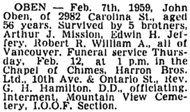 Vancouver Sun, February 10, 1959, page 24, column 5.
