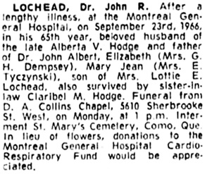The Gazette (Montreal), September 24, 1966, page 40, column 7.