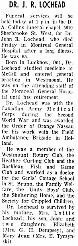 The Gazette (Montreal), September 26, 1966, page 44, column 8.
