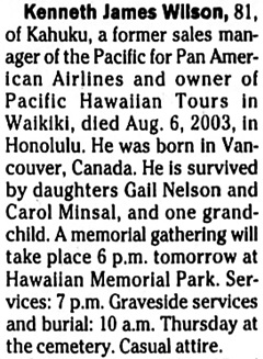 Honolulu Star-Bulletin, August 12, 2003, page 29, column 6.
