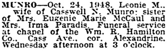 Detroit Free Press, October 26, 1948, page 23, column 2.