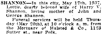 The San Francisco Examiner, May 19, 1937, page 17, column 7.