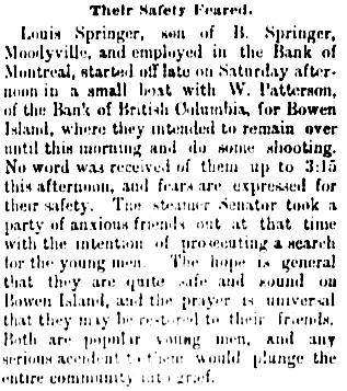 Vancouver Daily World, November 18, 1889, page 1, column 7.