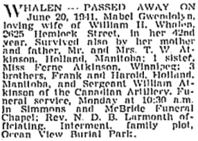 Vancouver Sun, June 21, 1941, page 20, column 1; https://news.google.com/newspapers?id=djNlAAAAIBAJ&sjid=O4kNAAAAIBAJ&pg=1350%2C5122393 [link leads to column 2; death notice is in column 1].