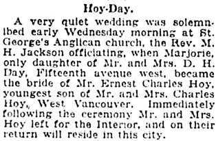 Vancouver Daily World, July 12, 1922, page 7, column 4.