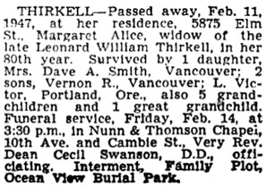 Vancouver Sun, February 12, 1947, page 15, column 2.