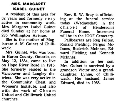 The Chilliwack Progress, November 8, 1967, page 10, column 7.