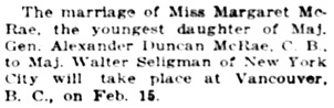 """New York Society,"" Chicago Tribune, February 13, 1926, page 17, column 8."