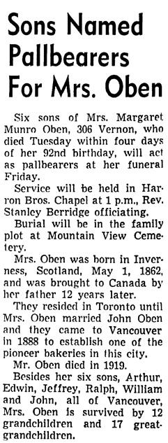 The Vancouver Sun, April 28, 1954, page 49, column 3.
