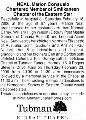 The Ottawa Citizen, February 20, 2006, page 30, column 4.