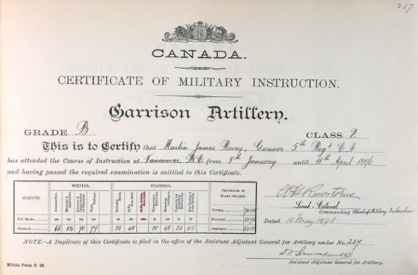 Ancestry.com. Canada, Certificates of Military Instruction, 1867-1932 [database on-line]. Lehi, UT, USA: Ancestry.com Operations, Inc., 2016. Library and Archives Canada; Ottawa, Ontario, Canada; Series: RG9 II-K-6; Volume: 8. Name: Martin James Ravey; Military Date: 11 May 1896; Military Place: Vancouver, British Columbia; Residence Year: 1896; Rank: Gunner.