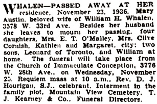 Vancouver Province, November 24, 1936, page 13; Vancouver Sun, November 24, 1936, page 13.