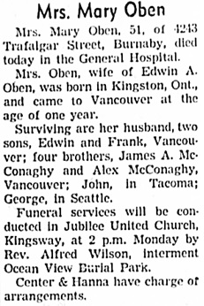 Vancouver Sun, August 19, 1939, page 23, column 5.