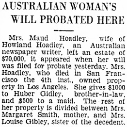 The Los Angeles Times, June 10, 1930, page 29, column 4.