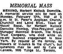 Memorial Mass, Herbert Kellock Domville Heming; Montreal Gazette, February 15, 1969, page 44, column 8; https://news.google.com/newspapers?id=ZI4uAAAAIBAJ&sjid=UKAFAAAAIBAJ&pg=6921%2C3569492.