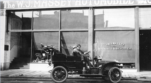[Men in a car outside The W.J. Massey Automobile and Bicycle Company], about 1909, Vancouver City Archives, Trans P149.10; http://searcharchives.vancouver.ca/men-in-car-outside-w-j-massey-automobile-and-bicycle-company.