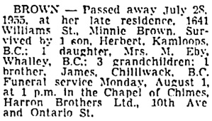 Vancouver Sun, July 30, 1955, page 30, column 3.